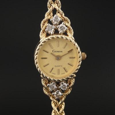 14K Diamond Geneve Quartz Wristwatch