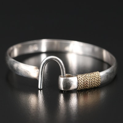 Caribbean Bracelet Company Sterling Bangle with 14K Accent