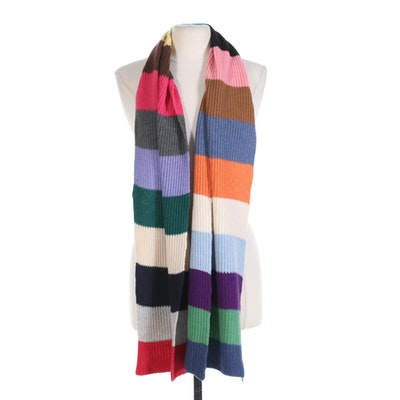 Peter Millar Multicolor Cashmere Striped Scarf