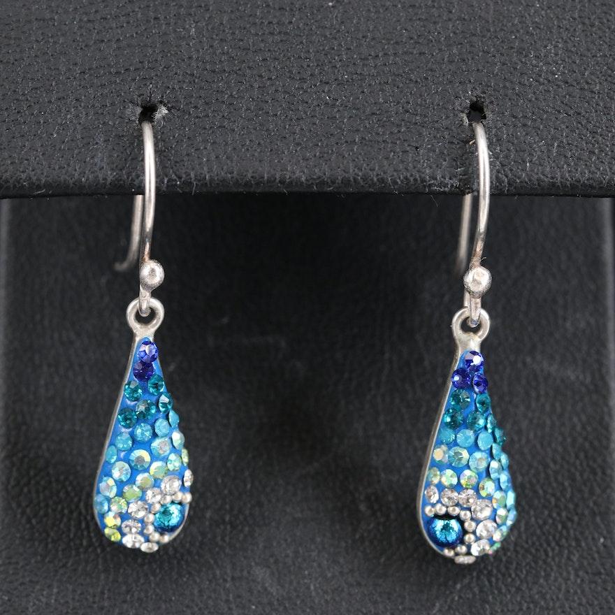 Sterling Silver Rhinestone Drop Earrings