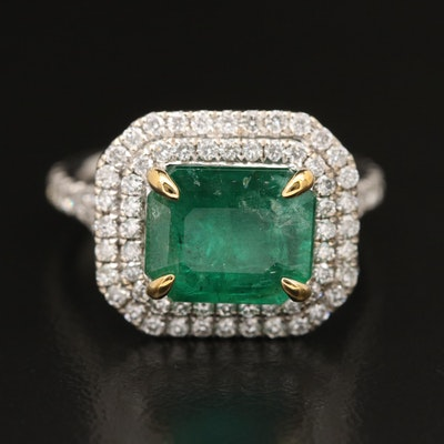 14K 4.08 CT Emerald and 1.16 CTW Diamond Ring