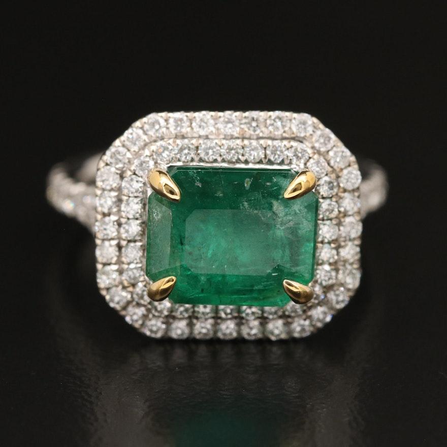 14K 4.08 CT Emerald and 1.16 CTW Diamond Ring
