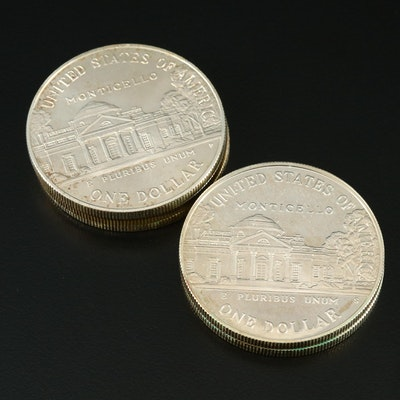 Five 1993 Thomas Jefferson Commemorative Silver Dollars, Proof and Uncirculated