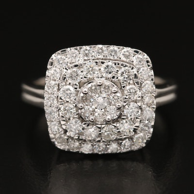 14K 1.20 CTW Diamond Cluster Ring