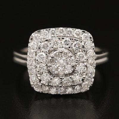 14K 1.20 CTW Diamond Cluster Ring