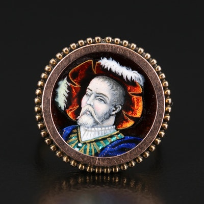 Victorian Renaissance Revival 10K Enamel Ring with Beaded Accents