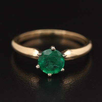 14K 1.10 CT Emerald Solitaire Ring