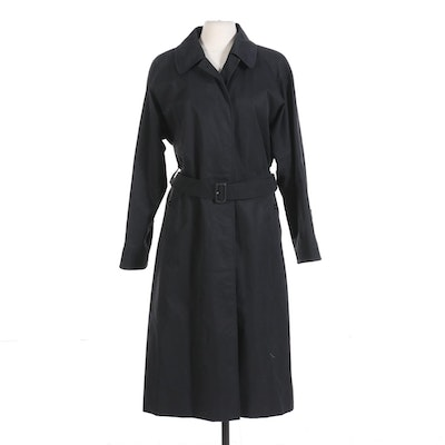 Burberrys of London Belted Black Overcoat with Classic Nova Check Lining