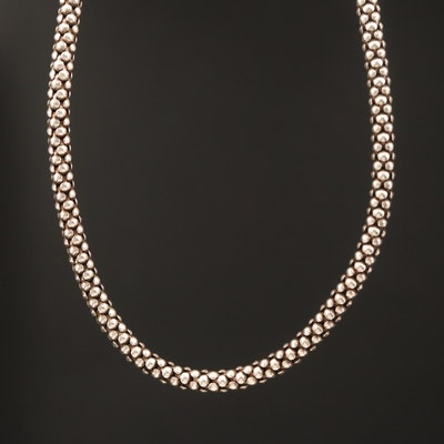 Sterling Popcorn Link Chain