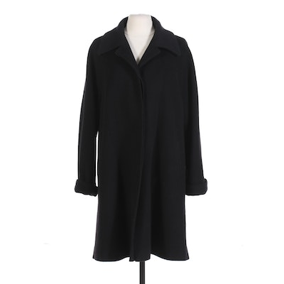 Jacobson's Black Cashmere Coat with Notched Collar, Vintage