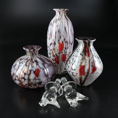 Gold Flecked Art Glass Vases with Blown Glass Bird Decanter Stoppers