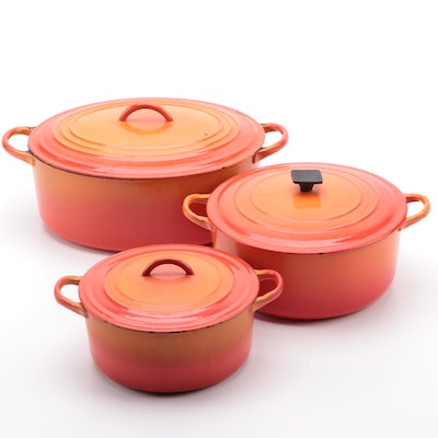 "Le Creuset ""Flame"" Cast Iron Enameled Dutch Ovens"