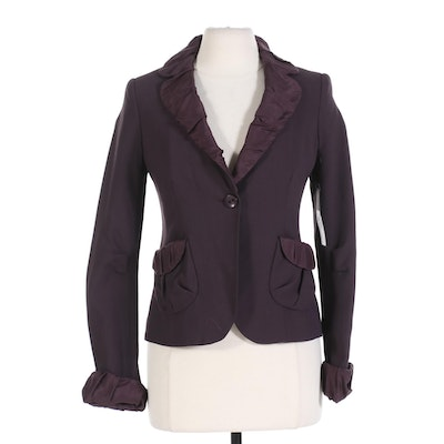 Marc Jacobs Jacket with Satin Trim in Deep Wine