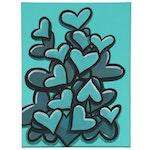 "Bee1ne Acrylic Painting ""Spread More Love (Turquoise),"" 2020"