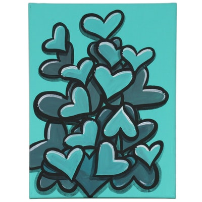 "Bee1ne Acrylic Painting ""Spread More Love (Turquoise),"" 2020"