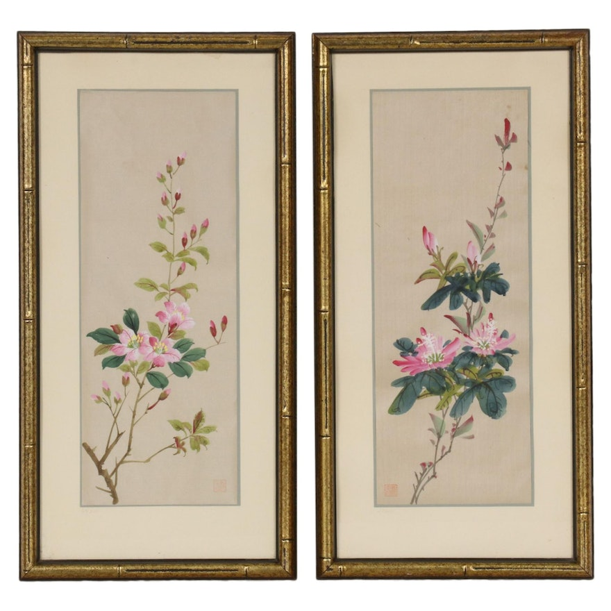 Chinese Floral Watercolor Paintings on Silk