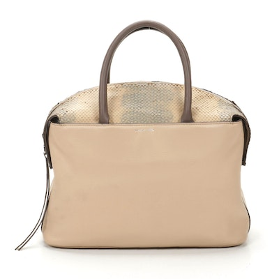 Louise et Cie Top Handle Bag in Beige Leather with Snakeskin Embossed Detailing