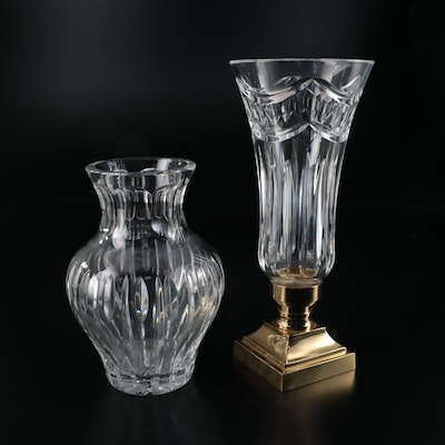 """Waterford Crystal """"Pompeii Collection"""" Hurricane Lamp and Marquis Waterford Vase"""