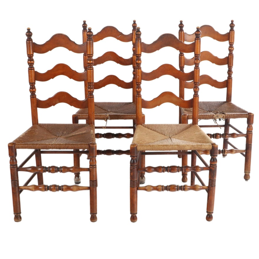 Four American Colonial Style Wood Ladder Back Side Chairs, Early to Mid 20th C.