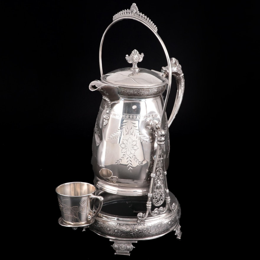 Rogers Smith Silver Plate Lemonade Tippng Pot with Wilcox Silver Plate Cup