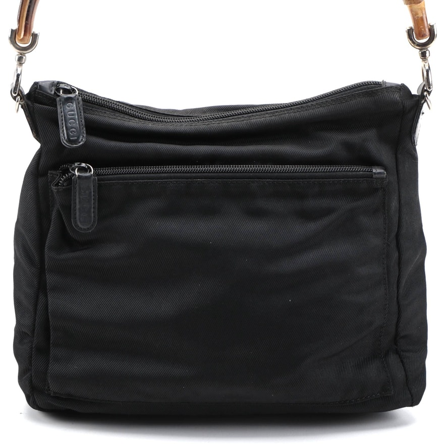 Gucci Bamboo Black Nylon and Leather Shoulder Bag