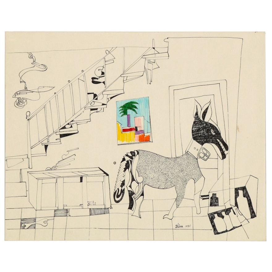 Eduardo Oliva Surrealist Ink Drawing, 1985