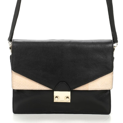 Loeffler Randall Double Flap Crossbody in Black Leather with Snakeskin Accent