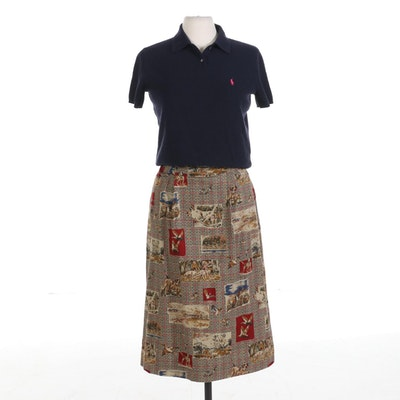 Ralph Lauren Cashmere Shirt with Pendleton Hunting Motif Skirt