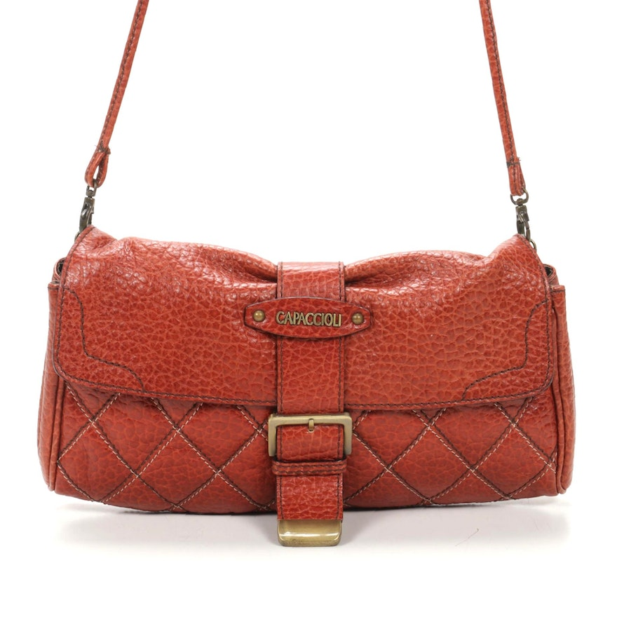 Capaccioli Pebbled Leather Quilted Shoulder Bag