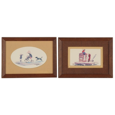Miniature Offset Lithographs after Watercolors of Figures Playing