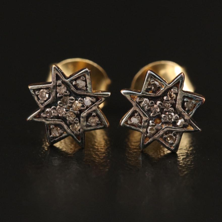 Sterling Silver Diamond Star Stud Earrings