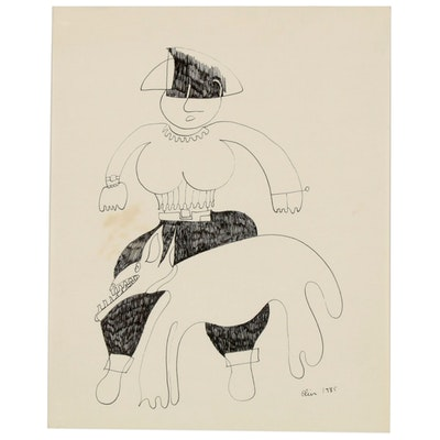 Eduardo Oliva Abstract Figural Ink Drawing of Woman with Dog, 1985