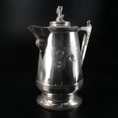 Webster Mfg. Co. Greek Revival Style Silver Plate Kettle, 1866–1874