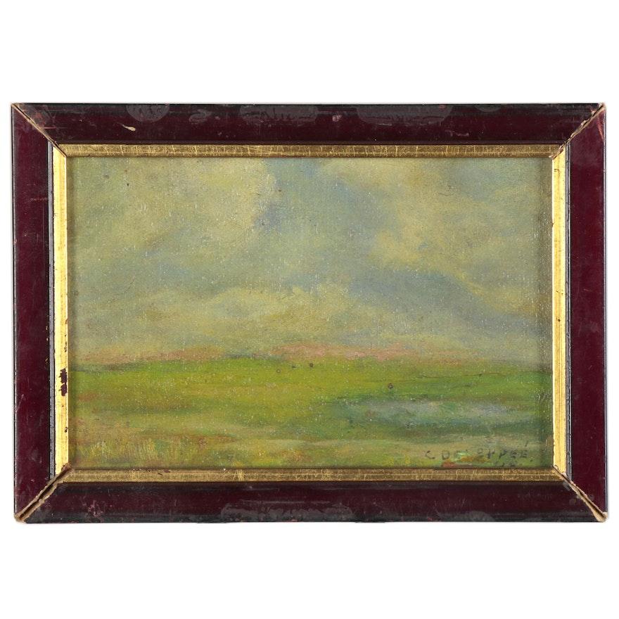 Miniature Landscape Oil Painting, 1948