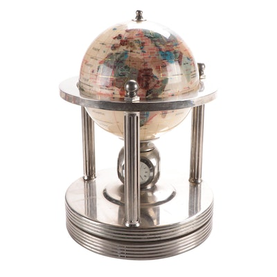 Inlaid Stone Globe with Clock and Weather Station on Lazy Susan Stand