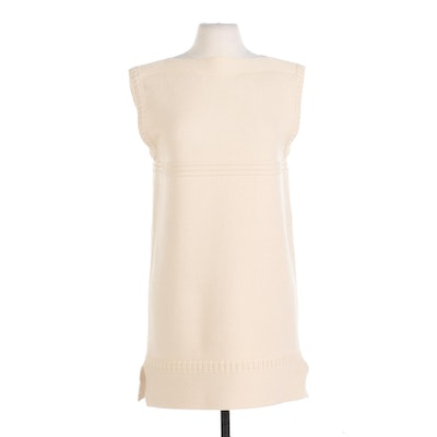 Chloé Boat Neck Sweater Dress in Pale Yellow Wool