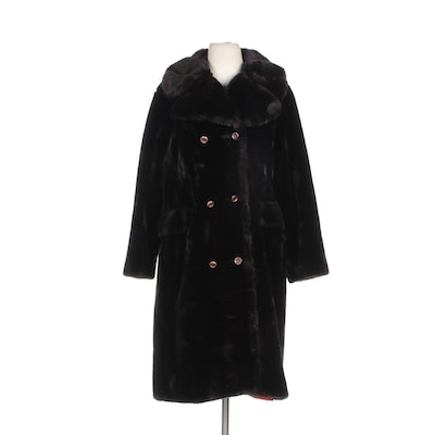 Cloud 9 Double-Breasted Faux Fur Coat with Shawl Collar