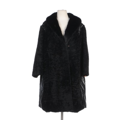 Sheared Persian Lamb Fur Coat with Muskrat Fur Collar and Leather Accent