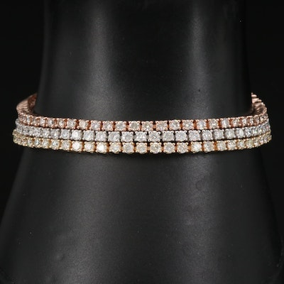 14K Tri-Color Gold 9.51 CTW Diamond Multi-Strand Line Bracelet