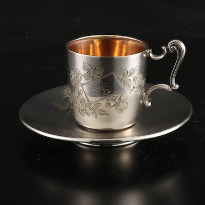 German 800 Silver Cup and Saucer, Antique