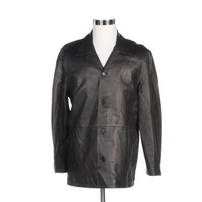 Men's Mood by Derimod Dark Brown Leather Jacket with Notched Collar