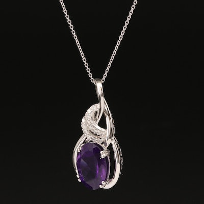 Sterling Silver Amethyst and Diamond Twist Necklace