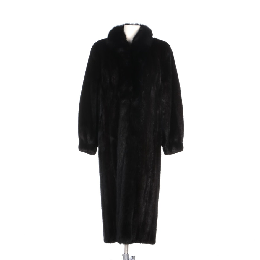 Corded Mink Fur Coat with Fox Fur Tuxedo Front Detail