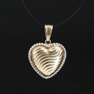 14K Two-Tone Puffy Heart Pendant with Rope Accent