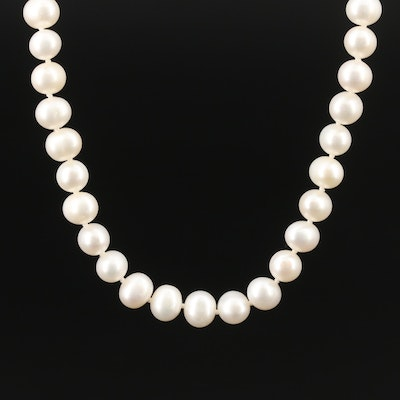 Knotted Pearl Necklace with Sterling Clasp