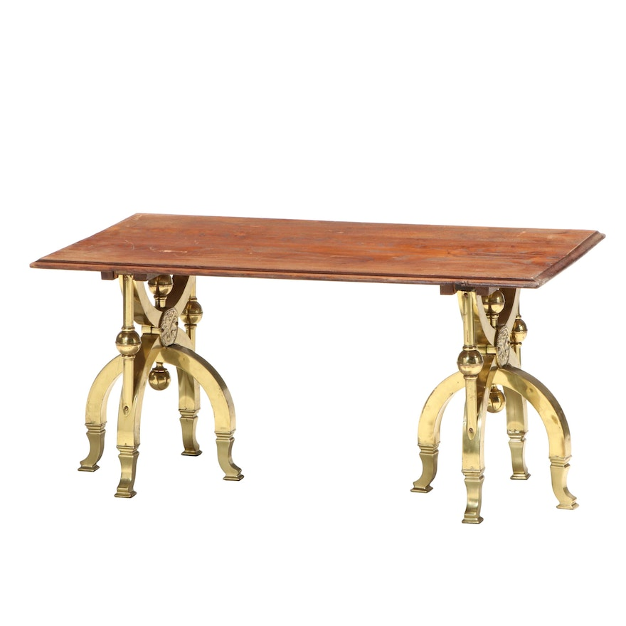Pair of Brass Folding Casket Stands with Ash Top Coffee Table