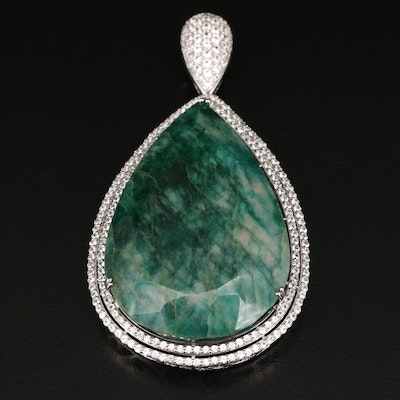 Sterling Silver 2.04 CT Beryl and White Sapphire Pendant