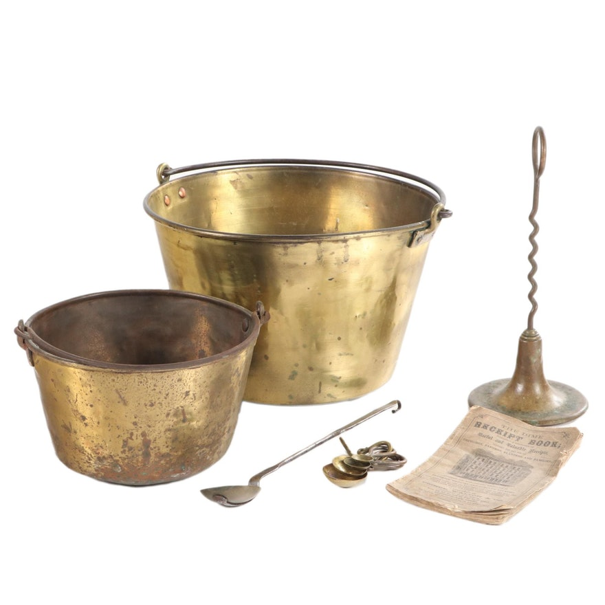 "Pails and other Brass Tableware with ""The Dime Receipt Book"", Antique"