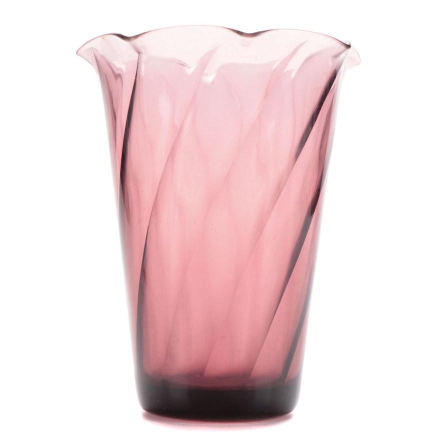 Swirled Amethyst Glass Vase, Mid-20th Century