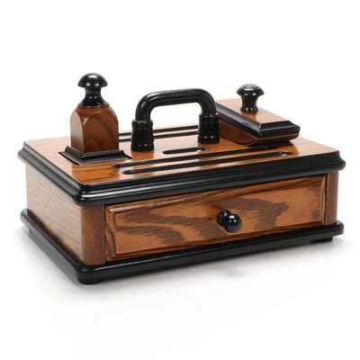 Tom Pollock Reproduction of an 1880 Red Oak Inkstand,  Mid to Late 20th Century